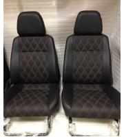 Обивка сидений Ваз  ( Эко-кожа + черная ткань + ромб)