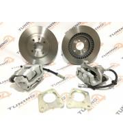 Комплект передних тормозов 2112 R14 на ВАЗ Классика 2101-2107 (тормозные диски+суппорта в сборе+планшайбы)