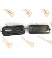 Диодные подфарники на ниву LED с ДХО темный хром стиль LEXUS