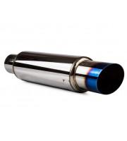 Глушитель HKS Hi-Power универсальный, Ф 76 мм, прямоточный, под титан, скошенный