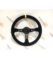 Руль черный замша с выносом OMP 350мм